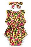 Newborn Baby Girls Romper Bodysuit Yellow Sunflower