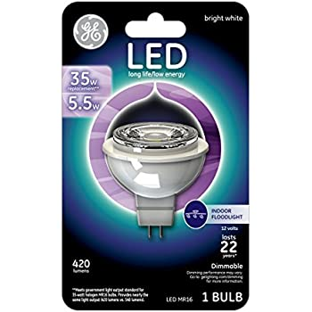 GE Lighting 45638 Dimmable LED MR16 Accent Bulb with GU5.3 Base, 5.5-Watt, Bright White