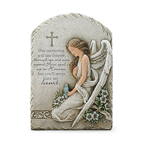 Memorial Wall Plaque - Never Leave Heart Angel Memorial Concrete Look 7.5 x 11 Resin Wall Sign Plaque