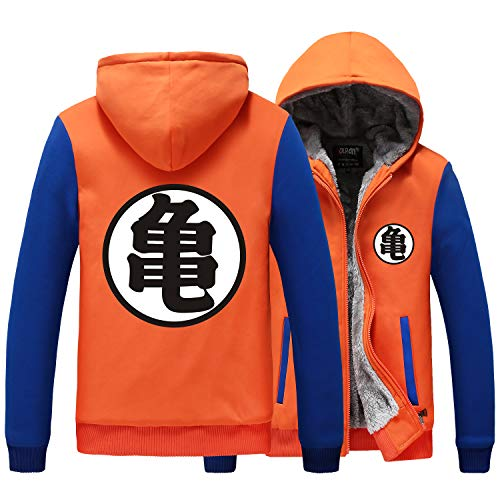 Poetic Walk Dragon Ball Z Son Goku Hero Wear Orange Thick Jacket Coat Hoodie (Small, Orange)