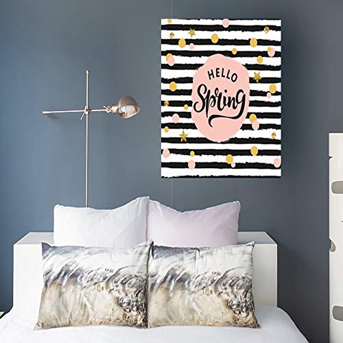 InnoDIY Canvas Prints Wall Art Hello Spring Text Logotype Badge Textures Backdrop Beautiful Modern Artwork Painting 16 x 20 for Home Decor Bedroom Living Room Office ()