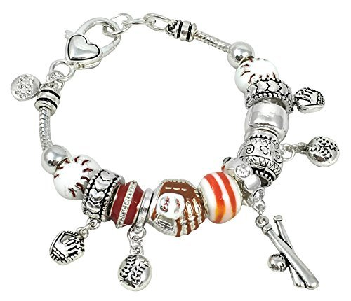 Sports Theme Murano Glass Bead Charm Bracelet 7.5