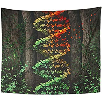 Semtomn Tapestry DNA Damage Symbol As Dark Tree Forest Growing Green Home Decor Wall Hanging for Living Room Bedroom Dorm 50x60 Inches