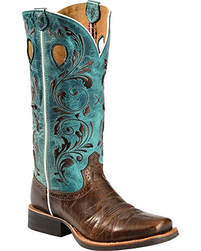 Twisted X Women's Ruff Stock Turquoise Embroidered Cowgirl Boot Square Toe Chocolate 6.5 M US