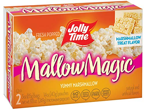 JOLLY TIME Mallow Magic | Sweet Marshmallow Microwave Popcorn with Candy Coated Sugar Topping for an Easy Gourmet Treat (2-Count Box, Pack of -