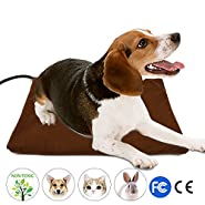 Pet Heating Pad, Wrcibo Heated Dog Mat Cat Warming Pad with 7 Adjustable Temperature Settings Waterproof Chew Resistant Steel Cord