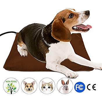 """Pet Heating Pad, Wrcibo Heated Dog Mat Cat Warming Pad with 7 Adjustable Temperature Settings Waterproof Chew Resistant Steel Cord 16"""" x 12"""""""