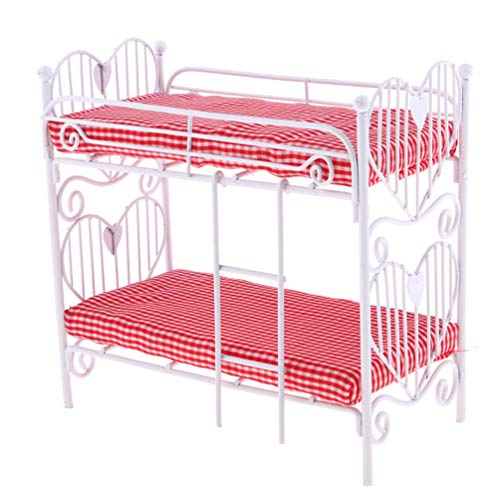 Floralby 1/12 Scale Doll House Furniture Miniature Bunk Bed Bedroom Kids Collection Toy
