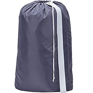 HOMEST Nylon Laundry Bag with Strap, 28 x 40 Inches Rip-Stop Travel Dirty Clothes Shoulder Bag with Drawstring, Machine Washable, Grey