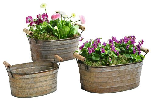 Metal Planter Tubs with Wooden Handles, Set of Three Product SKU: PL221877 (Tub State Planter)