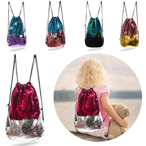 Gifts Sequin Applique (Magic Mermaid Reversible Sequin Backpack-Rose Red/Silver)