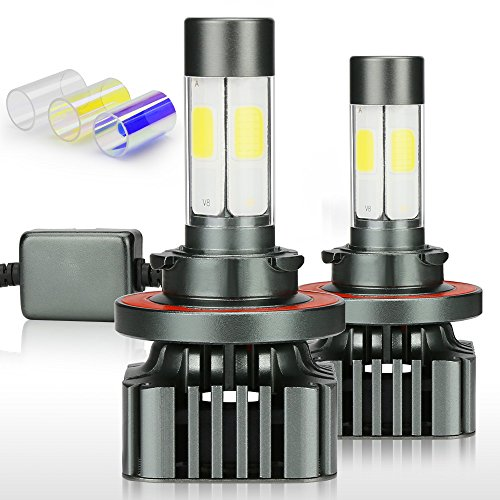 Zdatt 12000LM H13 9008 LED HeadLight Bulbs Conversion Kit 100W High Low Beam 360 Degree Lighting for Car Lamp Replacement-Amber(3000K)/White(6000K)/Light-Blue(8000K)-2 Year Warranty