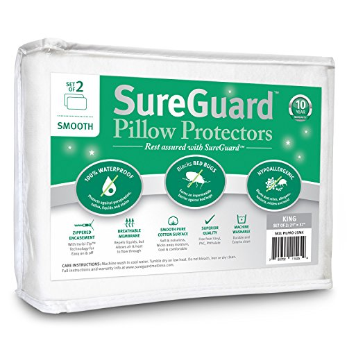 Set of 2 Smooth SureGuard Pillow Protectors - 100% Waterproof, Bed Bug Proof, Hypoallergenic - Premium Zippered Cotton Covers - 10 Year Warranty - King Size
