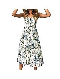 DIOMOR Women Sexy Low-Cut Off Shoulder Dress Printing Buttons Evening Gown Sleeveless Dress Princess Dress