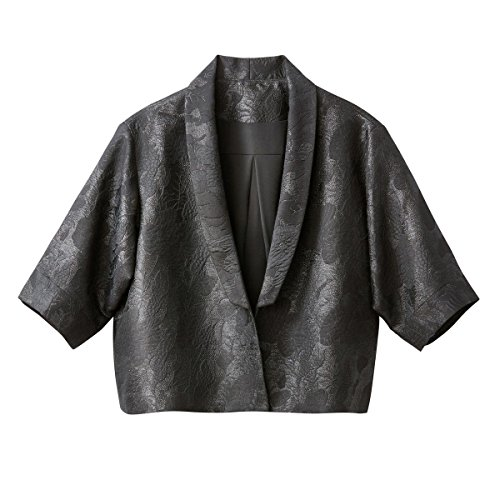 La Redoute Womens Jacquard Kimono Style Cropped Jacket Black Size Us 14 - Fr 44