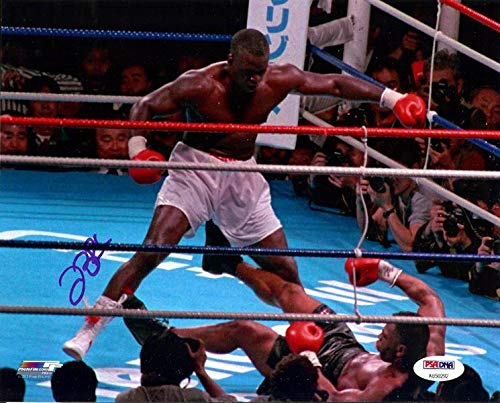 "James""Buster"" Douglas Autographed 8x10 Photo Vs. Tyson In Blue Stock #105964 PSA/DNA Certified Autographed Boxing Photos"