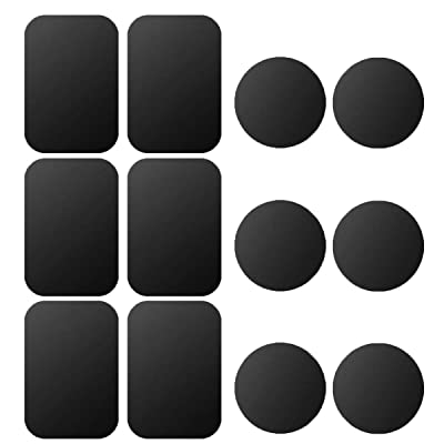 Mount Metal Plate, 12 Pack Universal Metal Plate with 3M Adhesive for Magnetic Phone Car Mount Holder Cradle, 6 Rectangle and 6 Round, Black