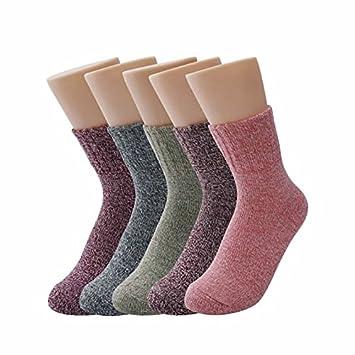 YANSHG® 5 pares mujeres calcetines otoño invierno lana calcetines unisex impresión casual calcetines largos suave confort cálido calcetines gruesos: ...