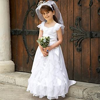 d23802d7515d Childrens Wedding Dress - 6-8yrs - Girls dressing up outfits  Travis   Amazon.co.uk  Clothing