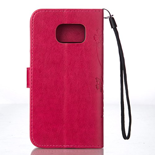JIALUN-Personality teléfono shell Funda Samsung Galaxy S7 Edge PLUS, caja en relieve de flores de mariposa Funda de piel premium en PU retro Flip Case magnética para Samsung Galaxy S7 Edge PLUS Seguri Red