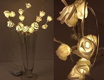 warmweiß LED Lichter Zweig mit 16 Rosen Deko Strauß Weihnachtsdekoration
