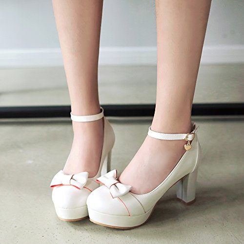Pumps Shoes High Chunky White tie Sweet Bow Platform Heels Womens AIWEIYi pZHwAq