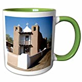 3dRose Danita Delimont - Churches - New Mexico, Taos Pueblo, San Geronimo Church - US32 JWI0484 - Jamie and Judy Wild - 11oz Two-Tone Green Mug (mug_92833_7)