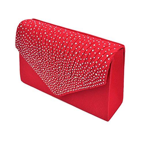 Envelope Flap Rainbow Pleated Red Bag Premium Rhinestones Evening Satin Clutch Front X6cFYq