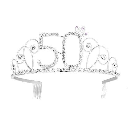 Frcolor Corona de plata de la tiara del feliz cumpleaños 50.a