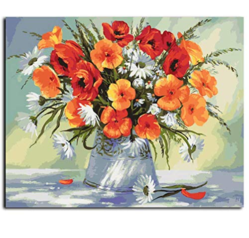 wubaiaiwo Sin Marco Flores De Colores Pintura Al Óleo De DIY Pintura by Números Pintura Acrílica sobre Lienzo Decoración para La Sala De Estar 40X50 Cm