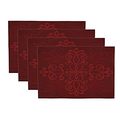 "OLOVEBIRD Placemats Set of 4 Heat Insulation Stain Resistant Non Slip Placemat for Dining Table Durable Crossweave Woven Vinyl Kitchen Table Mats Exquisite Pack (Red) - 🎅🏻MATERIAL AND MULI COLOR : Size in:18""X12""(45cmX30cm),burgundy placemats set of 4, 70% PVC, 30% polyester 🎅🏻EASY TO CLEAN : Set of 4 vinyl holiday placemats each and can be wiped clean with a damp sponge or cloth. 🎅🏻HIGH QUALITY : FDA Approved and environmentally PVC materials used,very durable placemats,free bending,free cutting,pull force non-deformation. - placemats, kitchen-dining-room-table-linens, kitchen-dining-room - 51VaHclWtHL. SS400  -"