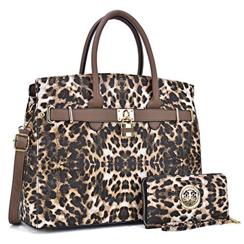 - Women Fashion Purses and Handbags Large Tote Bag Shoulder Bag Top Handle Satchel Purse Hobo for Ladies (02 With Wallet- Leopard)