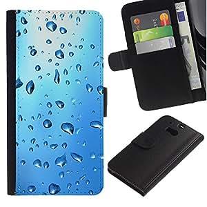 Ihec-Tech / Flip PU Cuero Cover Case para HTC One M8 - Blue Water Drop