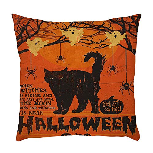VEFSU Halloween Home Car Bed Sofa Decorative Letter Pillow Case Cushion Cover Lumbar Pillowcase ()