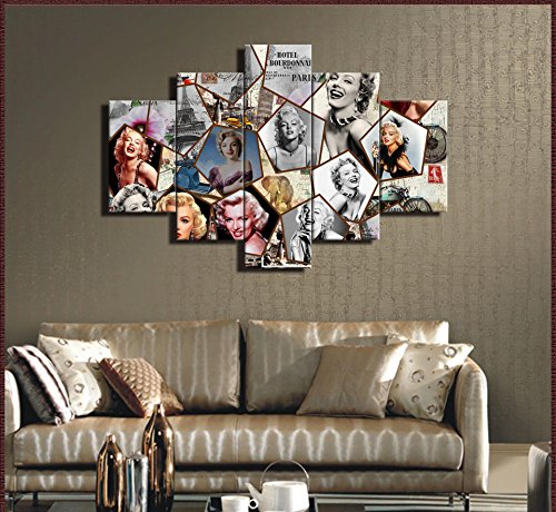 (Large Wooden Painting on Canvas Classical Marilyn Monroe Wall Art,5 Panel Artwork Inspirational Famous People Picture Posters and Prints for Living Room Home Decor,Framed Ready to)