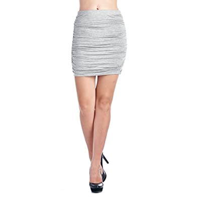 82 Days Women'S Rayon Span Office to Casual Wear Ruched Mini Skirt - Solid