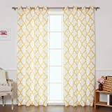 Cheap Best Home Fashion Oxford Basketweave Reverse Moroccan Print Curtains – Stainless Steel Nickel Grommet Top – Yellow – 52″W x 96″L – (Set of 2 Panels)