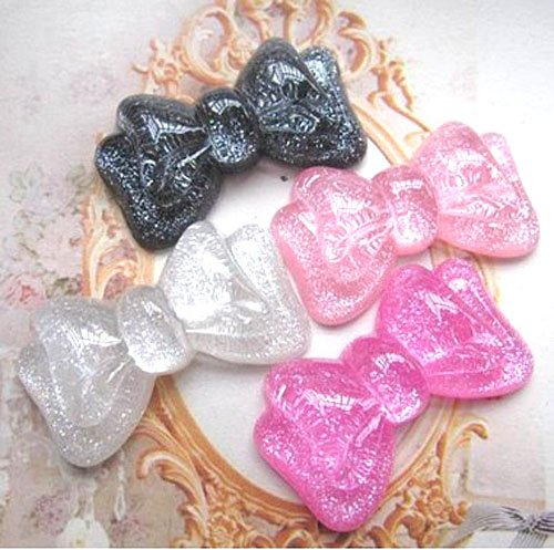 LOVEKITTY TM 4 pc Glitter Bow Cute Resin Flat Back Kawaii Cabochons