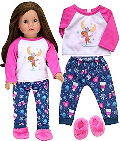 Fashion Cute Girl Doll Night Gown Winter Pajamas for 18inch Doll Accessory
