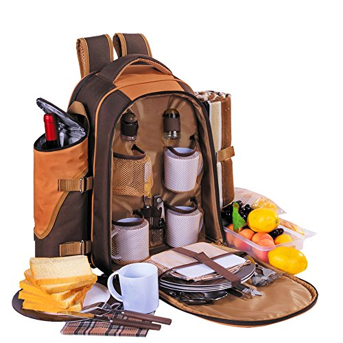 XMHANDSOME Picnic Backpack Bag for 4 Person With Cooler Compartment,Detachable Bottle/Wine Holder, Fleece Blanket, Flatware and Plates. (Coffee Picnic Backpack)