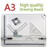 GOCHANGE 50 x 36.5cm Metric A3 Drawing Board Drafting Table with Parallel Motion and Adjustable Angl