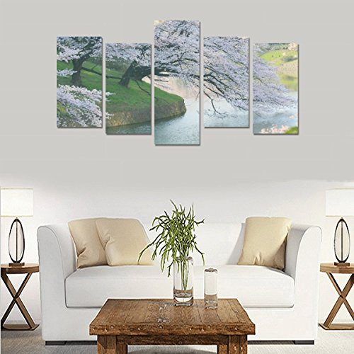 Children's room custom mural Spring tree flower beautiful river canvas print bedroom or living room features oil painting 5 pieces, ready for framing. by sentufuzhuang Canvas Printing