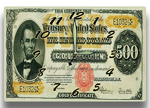 Abraham Lincoln Customized Money Clock $500 Dollars In Gold Coin Gold Certificate Series 1922 8 x 12 inch wall clock American President Statesman