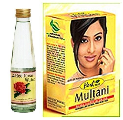 Hesh & Dabur Herbal Multani Mati (Mitti) Fullers Earth 100G & Dabur Red Rose Water 250Ml - 2 In 1 Complete Face & Skin Care Combo Pack