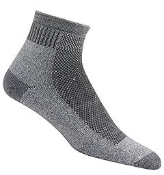 Wigwam Men\'s Cool-Lite Hiker Pro Quarter Socks, Grey, Large