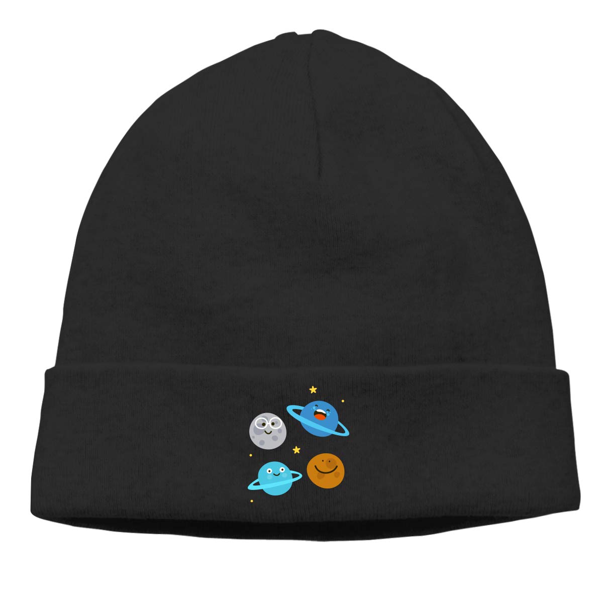 Stretchy /& Soft Winter Cap Solar System Planet Cartoon Women Men Solid Color Beanie Hat Thin