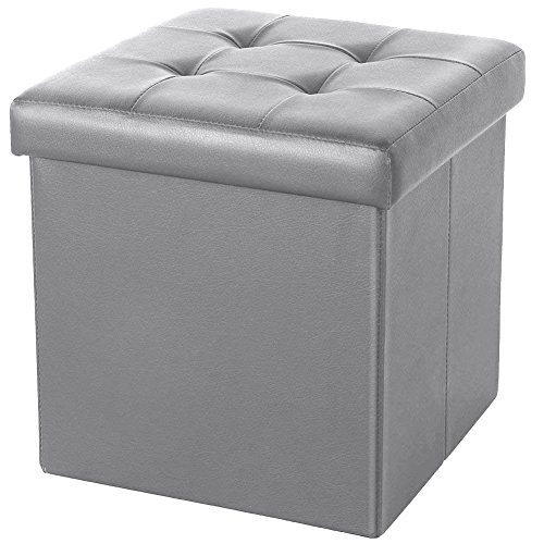 ShellKingdom Faux Leather Collapsible Ottoman with Storage (15''X15''X15'' Cube Gray) by ShellKingdom