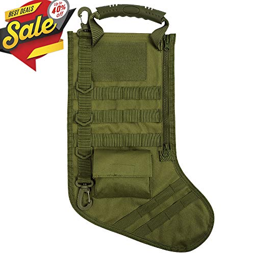 Tactical Christmas Stocking Bag Military Dump Drop Magazine Storage Bag EDC Molle Pouch for Christmas Decoration Gifts Outdoor Hunting Shooting Military, -