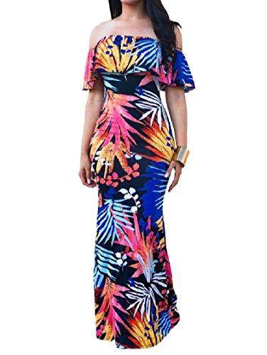 Coolred-femmes Hors Épaule Florale Printemps Queue De Poisson Flouncing Maxi Long Pattern4 Robe