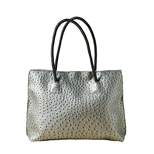 Women's Vegan Handbag - Ostrich Look Embossed Tote with Zip Close - - Embossed Handbag
